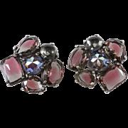 Schiaparelli Purple Gray Rhinestone Earrings Large Size