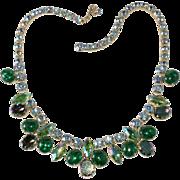 Schiaparelli Green Crackle Glass Blue Rhinestone Necklace