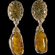 Schreiner Amber Art Glass Dangle Earrings Vintage