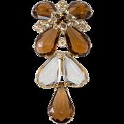 Schreiner Brown Clear Lucite & Rhinestone Dangle Brooch