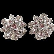 Schreiner Clear Rhinestone Flower Earrings