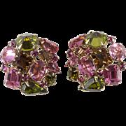 Schreiner Pink Green Rhinestone Earrings