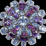 Schreiner Foiled Cabochon Blue Purple Rhinestone Brooch Pin Vintage
