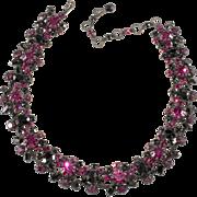 Schreiner Fuchsia Pink and Black Rhinestone Necklace Vintage