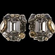Schreiner Gray & Metallic Rhinestone Earrings