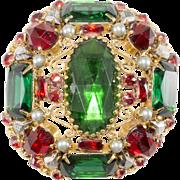 Schreiner Cranberry Red & Emerald Green Rhinestone Brooch Pin