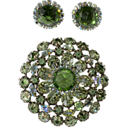 Schreiner Green Rhinestone Brooch Earrings Set