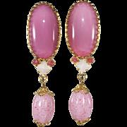 Schreiner Pink Art Glass Long Dangle Earrings