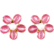 Schreiner Pink Flower Earrings Vintage 1960s
