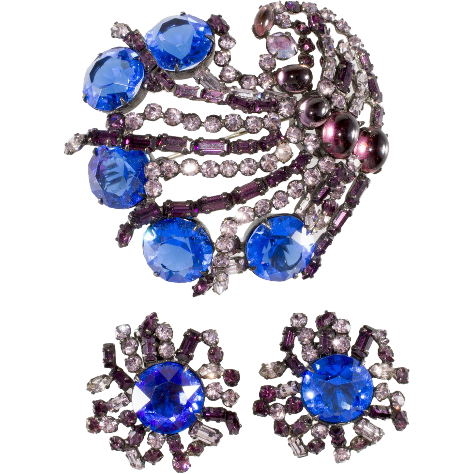 Schreiner Purple & Blue Rhinestone Brooch & Earrings Set