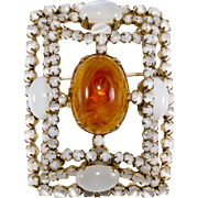 Schreiner Swirled Amber Picture Frame Brooch Pin Vintage