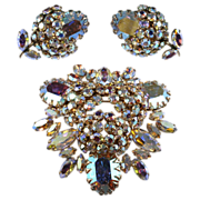 SALE Sherman Rhinestone Berry Brooch & Earrings Set