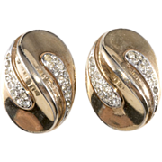 Trifari 1940s Oval Rhinestone Earrings