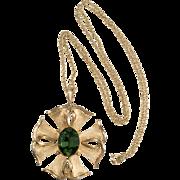 Trifari Green Rhinestone Pendant Necklace Vintage