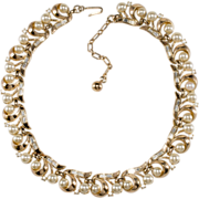 Trifari 1950s Faux-Pearl & Rhinestone Necklace