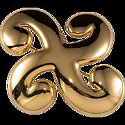 Trifari Gold Plated Swirl Brooch Pin 1970s