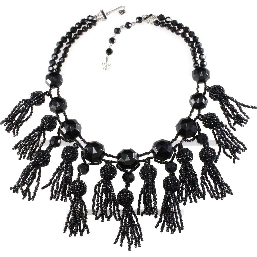 ON LAYAWAY Vendome Victorian Revival Black Tassel Necklace