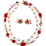 Vendome Red & White Polka Dot Necklace & Earrings Set