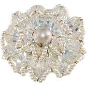 Vendome Ruffle Clear Crystal Bead and Faux Pearl Brooch Pin