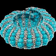 Vendome Prototype Turquoise Bead and Rhinestone Bracelet
