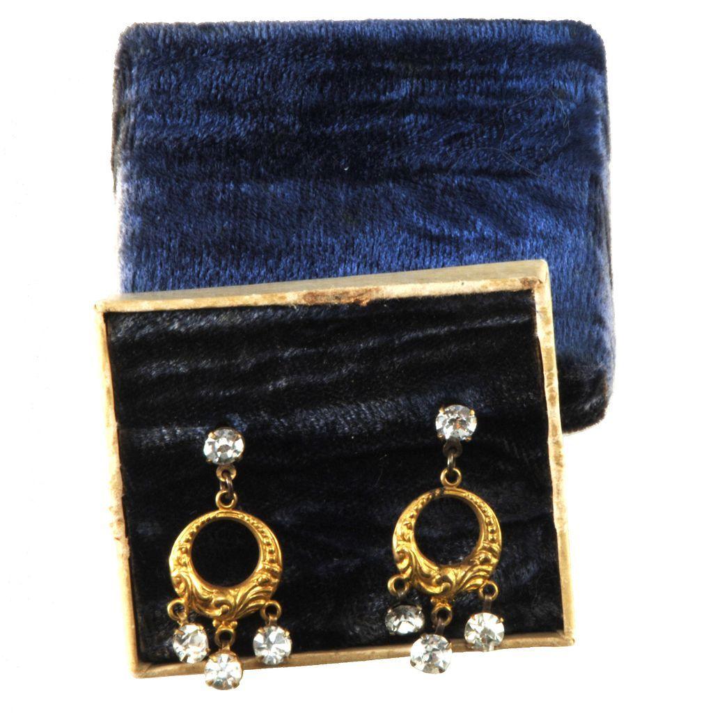 Victorian 1890s Pierced Rhinestone Dangle Earrings in Box