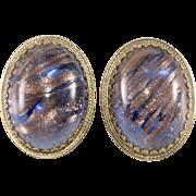 Whiting & Davis Art Glass Aventurine Earrings Vintage