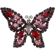 Weiss Purple & Red Rhinestone Butterfly Brooch Pin