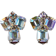 Weiss 1950s Aurora Borealis Rhinestone Earrings