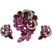 Weiss Red Fuchsia Pink Rhinestones Brooch and Earrings Set