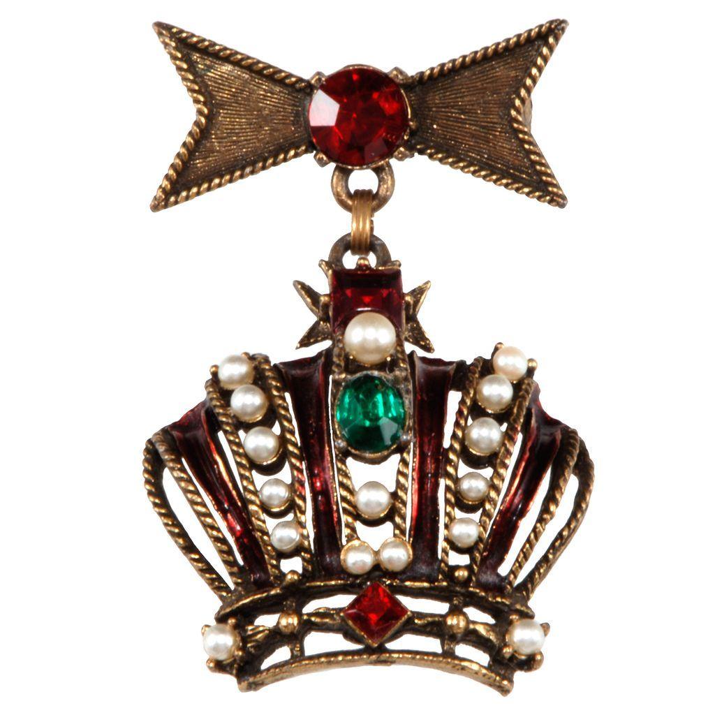 Weiss Rhinestone Dangling Crown Brooch Pin