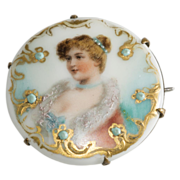 Victorian Woman Porcelain Pin Brooch