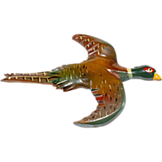 Wooden Pheasant Bird Carved & Painted Brooch