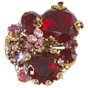SALE Robert Red & Pink Rhinestone Cluster Brooch Pin