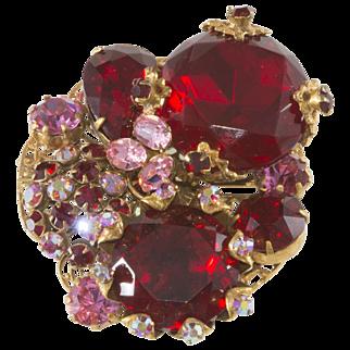 SALE Robert Red & Pink Rhinestone Cluster Brooch Pin