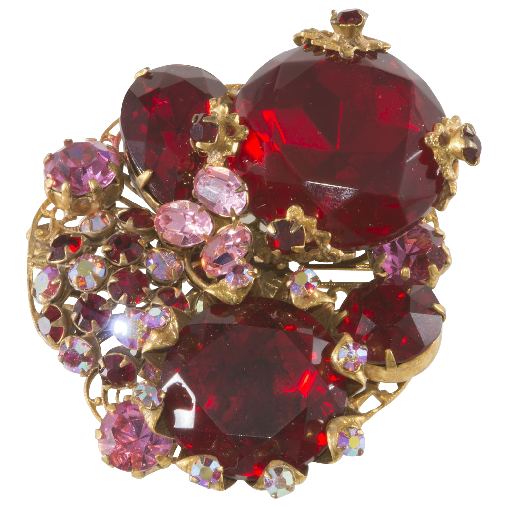 Robert Red & Pink Rhinestone Cluster Brooch Pin