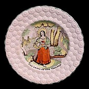 Early Pearlware Transfer Plate ~ Pride of the Village