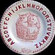 Antique Alphabet Plate ~ Cats ~ Soft Place 1880