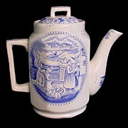 Rare Childs Blue Transfer Teapot ~ FALCONER c1890