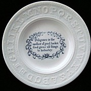 SALE Early Pearlware Motto ABC Plate ~ Diligence & Industry 1840