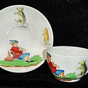Childs Transferware Cup and Saucer Set PIED PIPER ~ DANCING PIGS