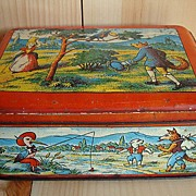 SALE Early French Animals Biscuit Tin ~ Fontaines Fables Moral Maxims 1930