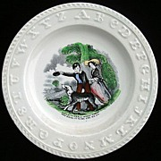 SALE Victorian Transferware ABC Plate ~ Catch It Carlo 1860