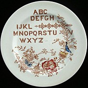 SALE Polychrome ABC Alphabet Plate ~ SONGBIRDS 1890