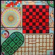 Antique Framed Game Board ~ Multi Games 1930