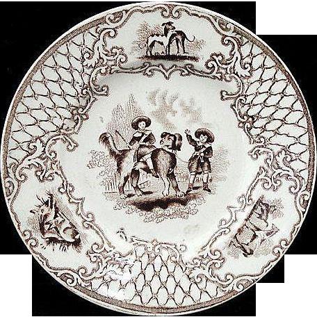 Early English Childs Transferware Plate ~Boys & Newfoundland Dog