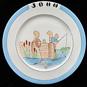 SALE Christening Plate for JOHN Jan 1945 ~ Fishing Squirrels Cat Tails