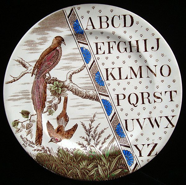 Antique English ABC Plate ~ Wandering Pie 1880