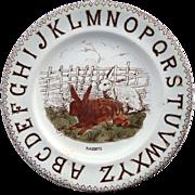 SALE Staffordshire ABC Alphabet Plate ~ TWO RABBITS 1880