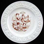 SALE Alphabet Pearlware ABC Plate ~ SPELLING BEE 1840