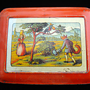 SALE Early Large Fontaine Biscuit Tin ~ NURSERY TALES 1930